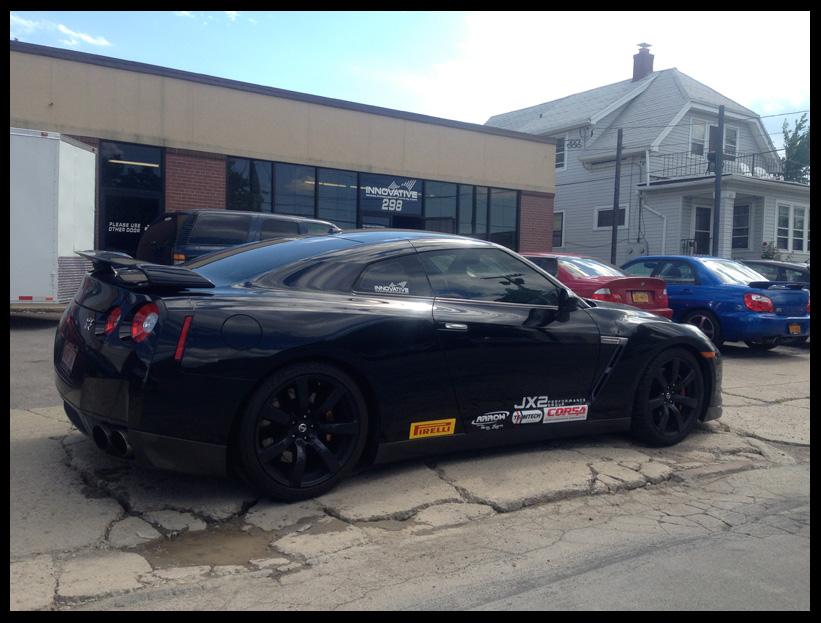 Hayes_Nissan_GTR_AtShop_StickeredUp